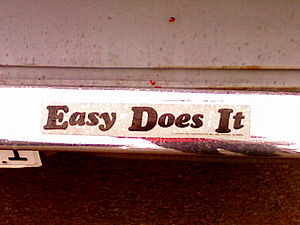 "A bumper sticker on a car reading ""Easy D..."