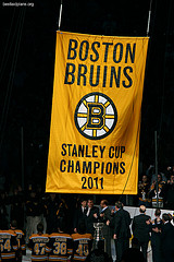 Boston Bruins championship banner being raised