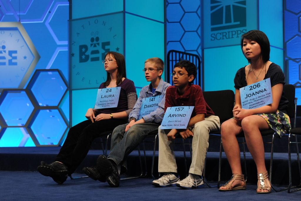 Some of the contestants in the Scripps Nationa...