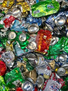 crushed assorted beverage cans lot