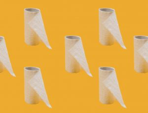white tissue paper roll on yellow background